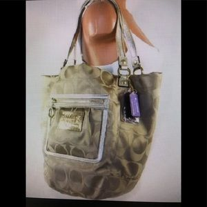 XLarge Coach Bella Tote in Khaki & Gold